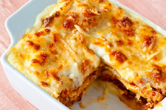 lasanha fácil de carne moída e queijo e presunto