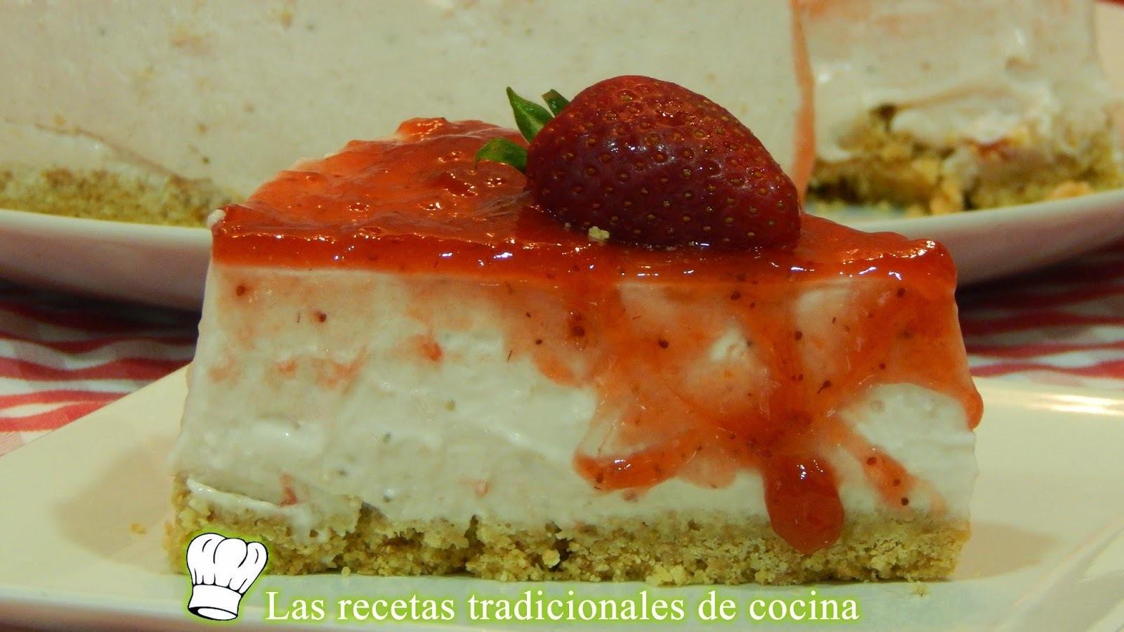 Receta fácil de tarta de queso y fresas sin horno
