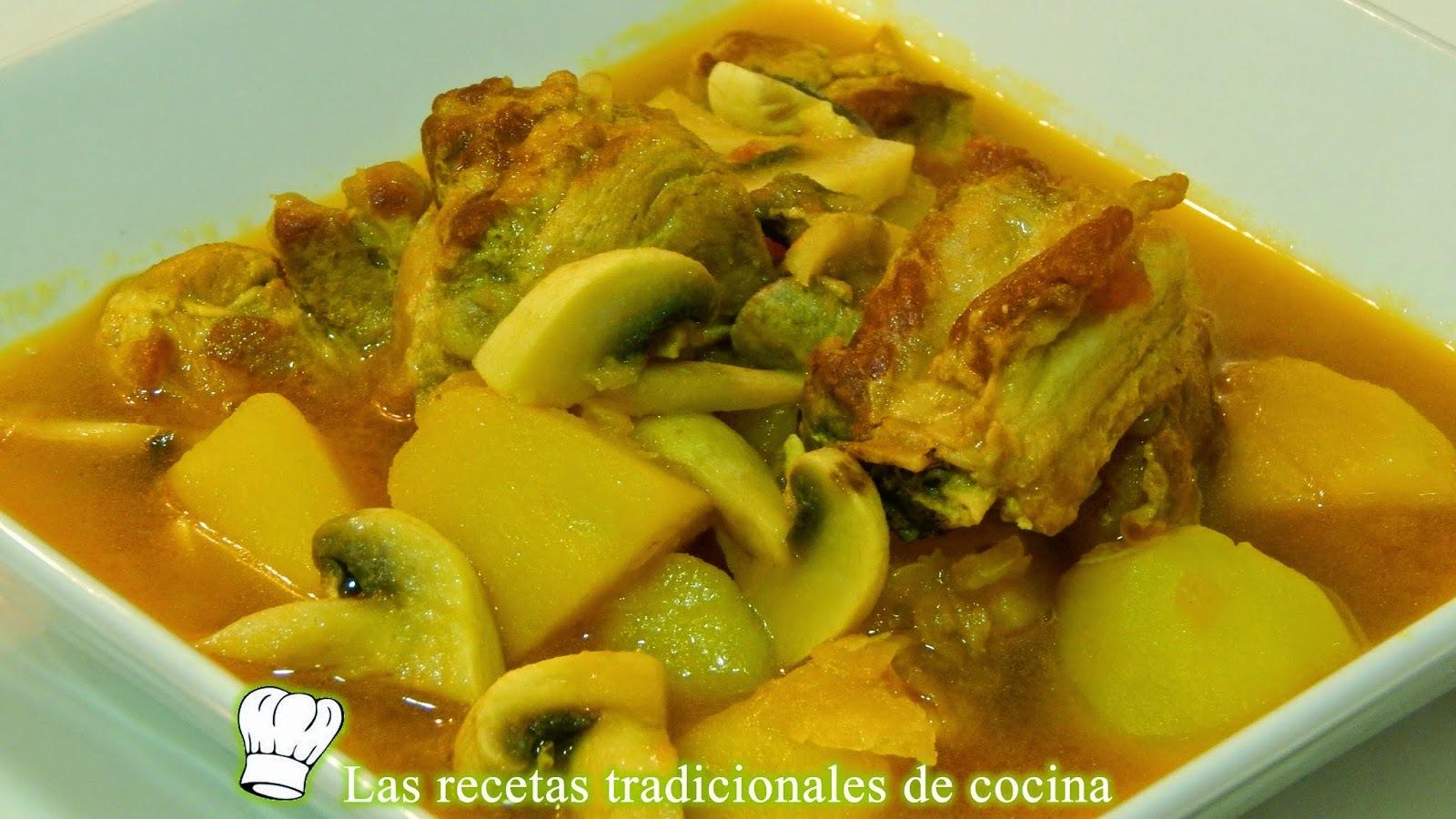 Receta de guisado de costillas con champiñones y patatas