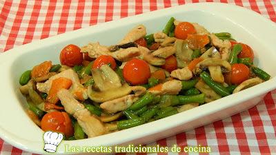 Receta de verduras salteadas con pavo