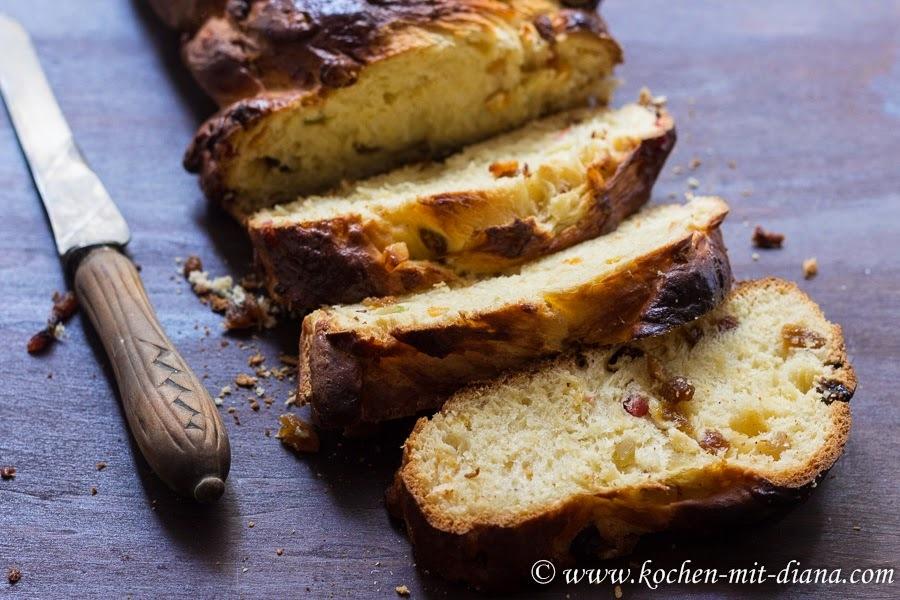 Hefezopf mit kandierten Früchten/ Braided yeast bun with candied fruits