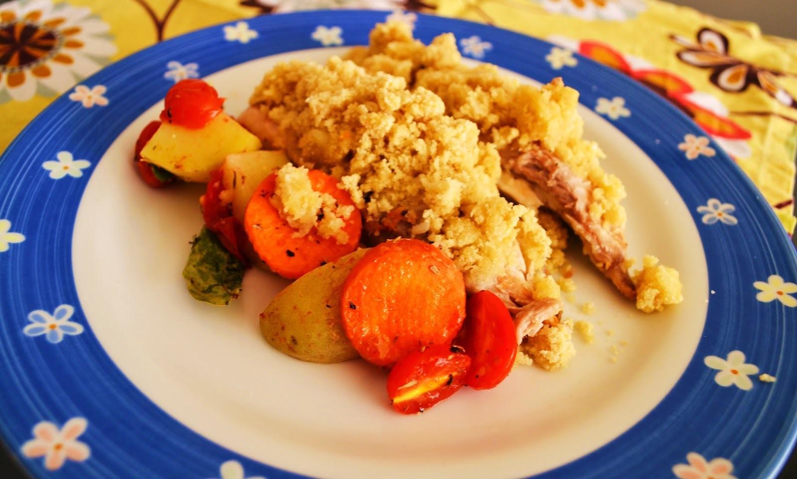 Tilápia em Crosta de Amêndoa Acompanhada de Legumes Gratinados