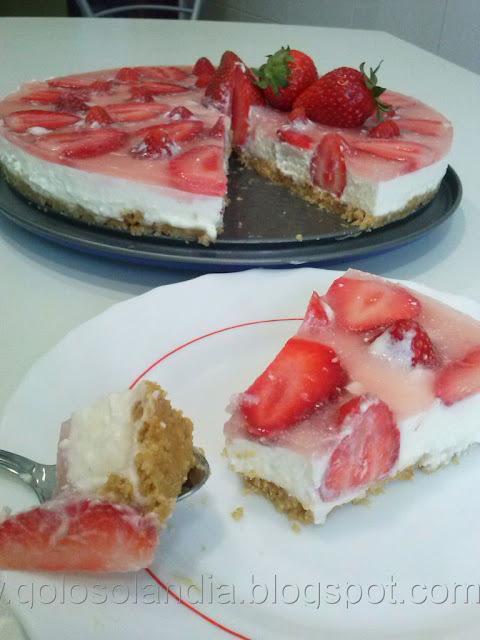 Tarta de queso con fresas, receta casera paso a paso
