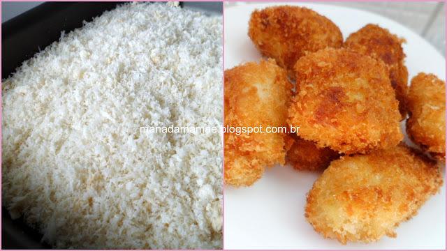 isca de peixe empanado com farinha e farinha de rosca