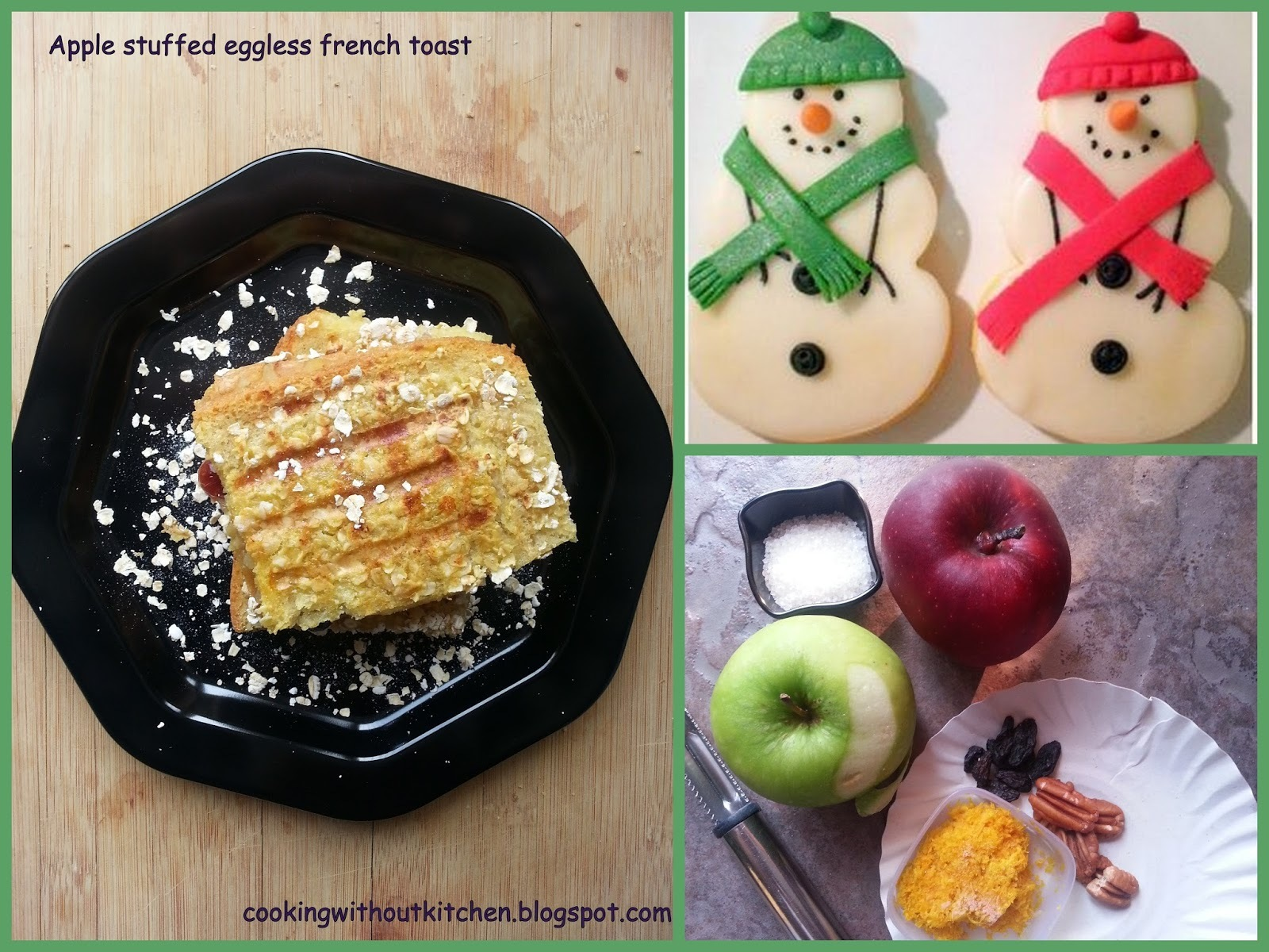 Oat Crusted Apple filled French toast (Egg free)
