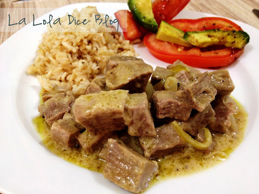 Carne (Gusano/Cuete) en Chile verde
