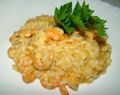 risoto de camarão com arroz branco