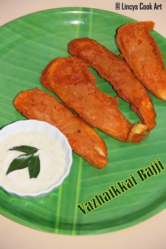 Vazhaikkai Bajji/ Plantain Fritters/ Raw Banana Bajji/ Bajji