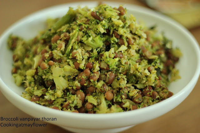 broccoli vanpayar thoran/broccoli red gram thoran