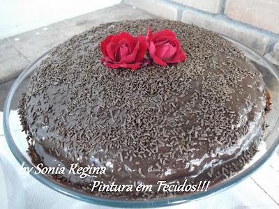 Bolo de Chocolate de Preguiçoso no Lanche da tarde de domingo!!!
