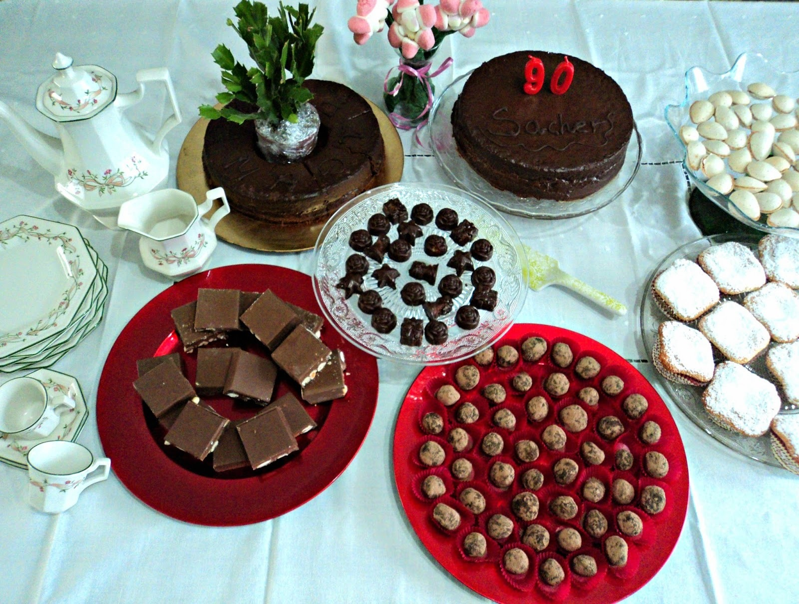 Tarta Sacher y mesa dulce navideña para el cumpleaños de mi madre