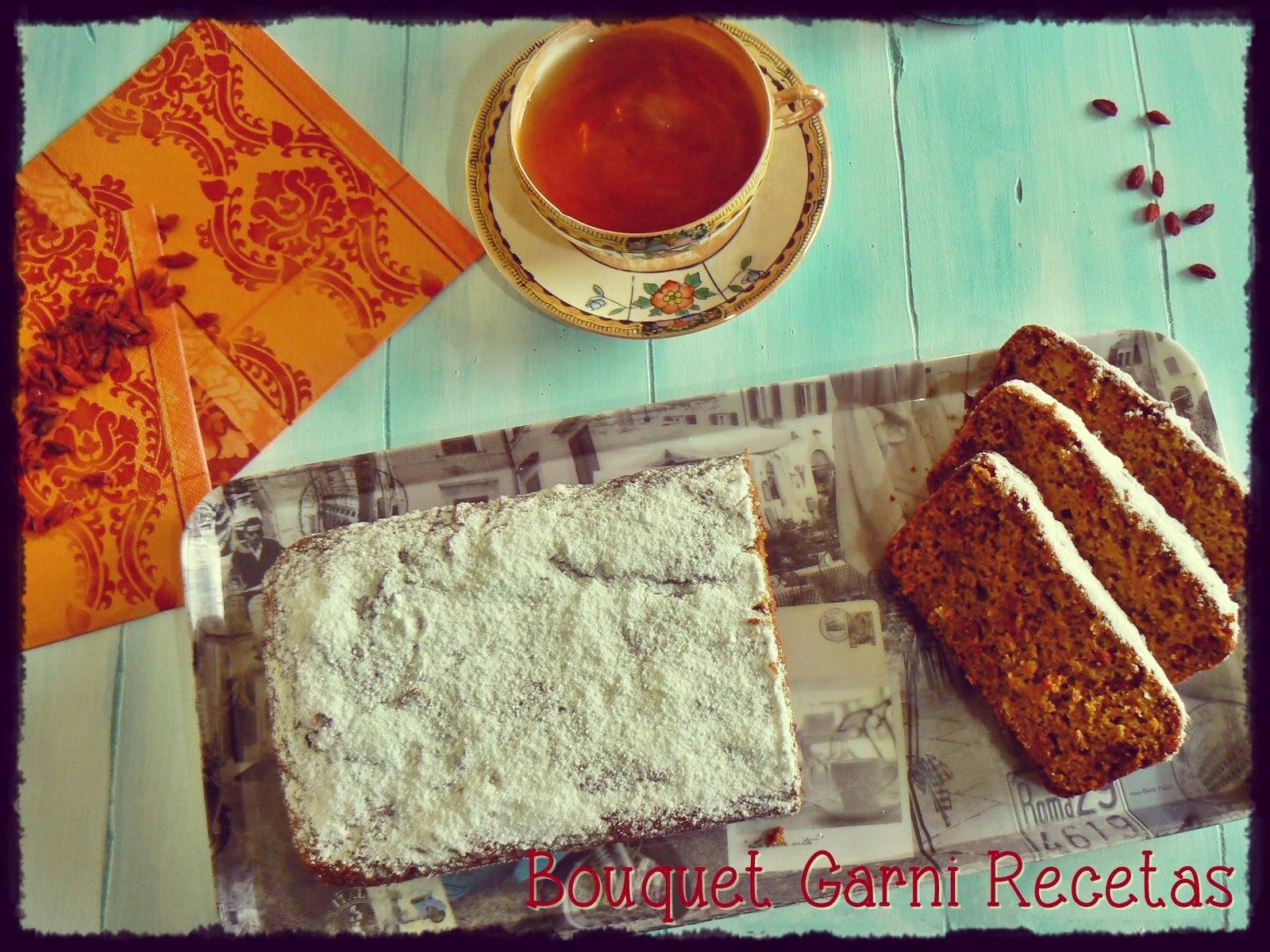 Budín de zanahorias, granola y bayas Goji