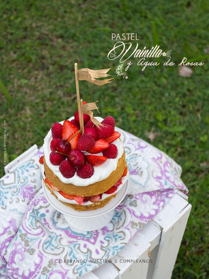 Pastel de Vainilla y Agua de Rosas, 3 Aniversario