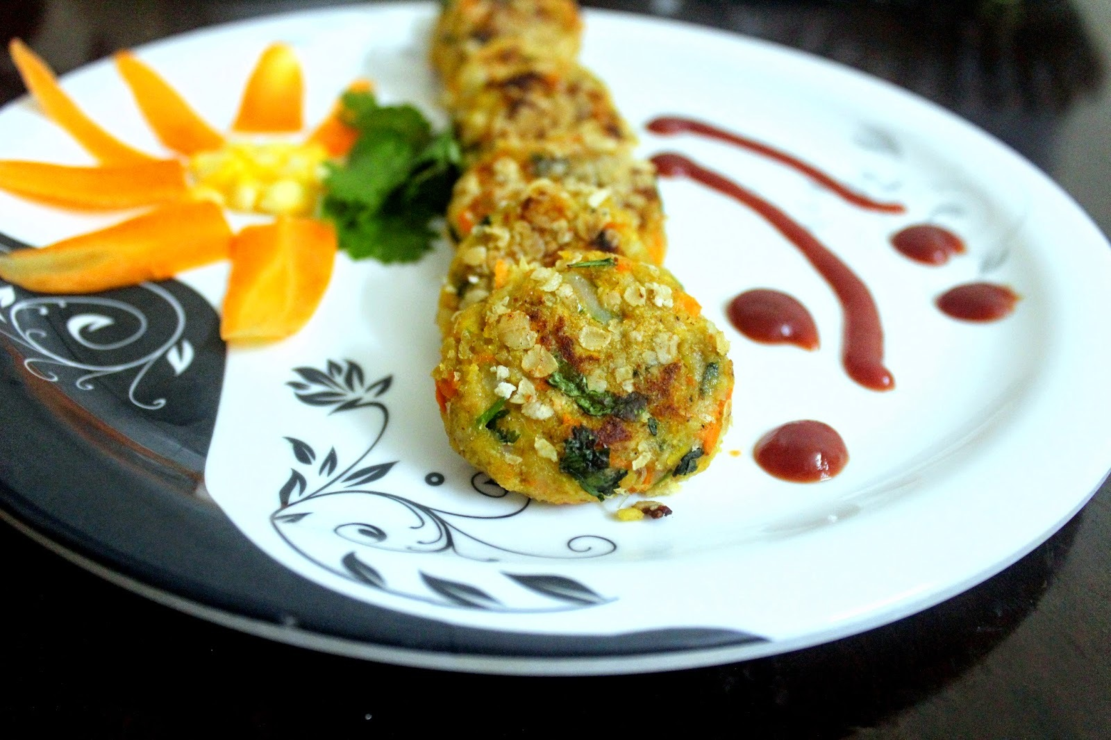 Corn and Carrot Patties- A guilt free snack