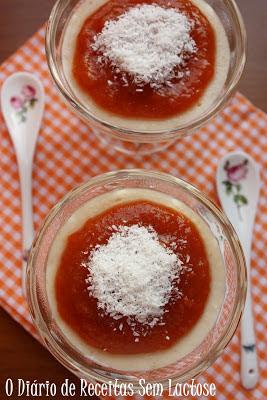 Sobremesa Cremosa de Painço com Calda de Caqui