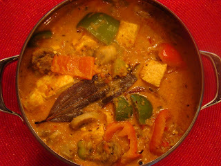 Peppers and Mushroom and Paneer Sabji