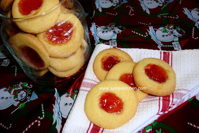 Eggless Jam Biscuits / Jam Biscuits / Jam-Filled Thumbprint Cookies / Eggless Custard Thumbprint Jam Cookies