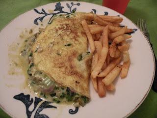 Omelette de espinaca y cebolla de verdeo