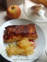 Feuilletés brillants de palmée aux pommes et à la pâte de speculoos.