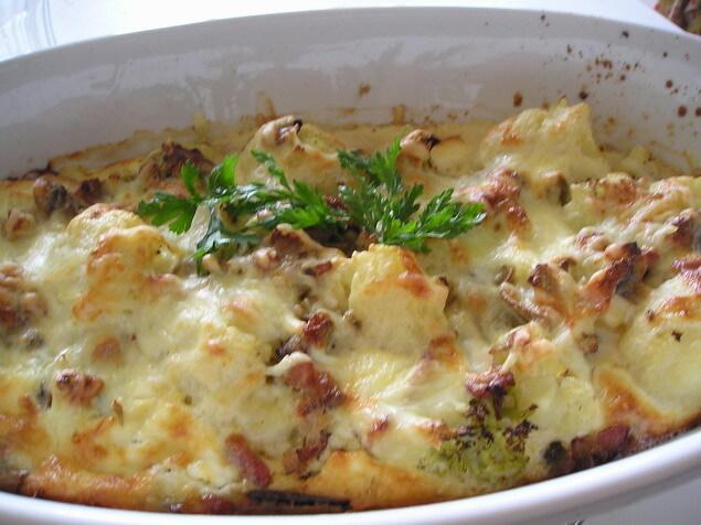 Zapekaný karfiol s brokolicou a baklažánom