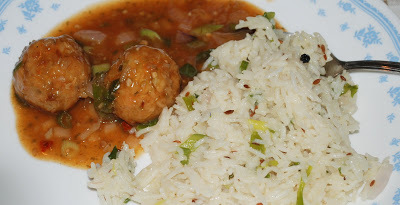 Vegetable Manchurian and Jeera Rice