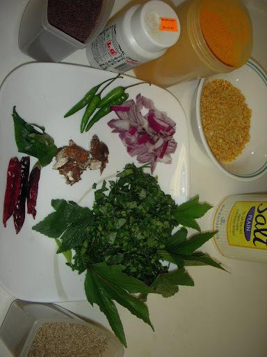 గొంగౌర కంది పప్పు: Gongoura Kandi pappu- Kenaf greens with pigeon peas