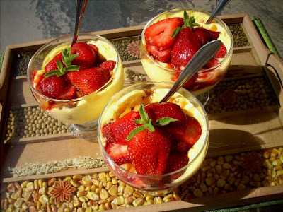 Peaches and strawberry Trifle