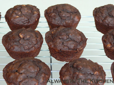Chocolate Oatmeal Peanut Butter Chip Muffins