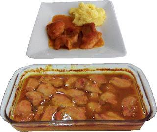 Pollo en salsa de durazno con jalapeño
