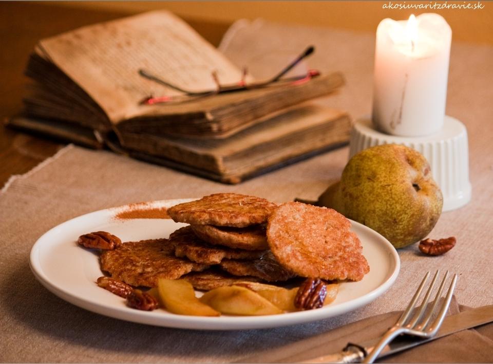 Pšenové lievance s karamelizovanými hruškami
