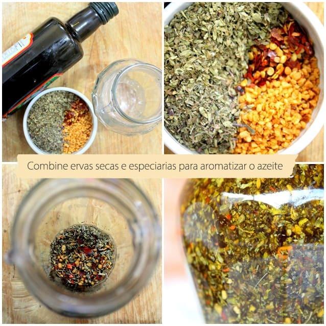 Azeite aromatizado e tempero especial