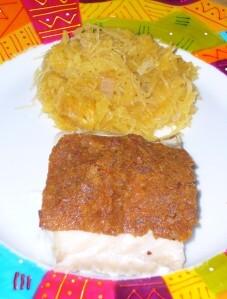 Filet de perche en crumble de pain d'épice et clémentine