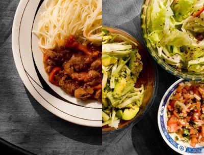 Menu del dia: Fideos capellini con salsa de tomates al sesamo tostado