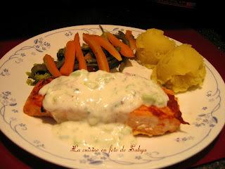 Filets de saumon au gingembre, sauce au yogourt