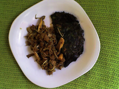 Menu del dia: Tortilla de espinaca y salteado de seitan