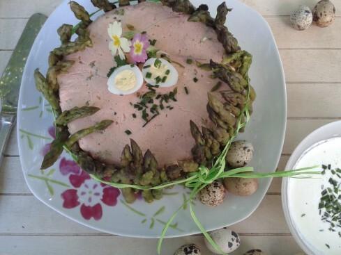 Charlotte de Pâques : saumon~asperges vertes