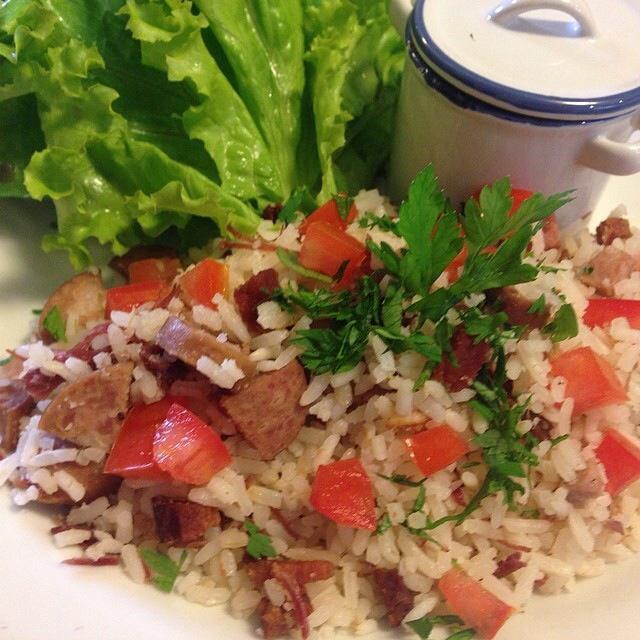 arroz puxado no alho