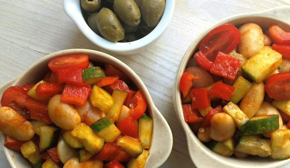 Nem madpakke: Bønnesalat med paprika og oliven