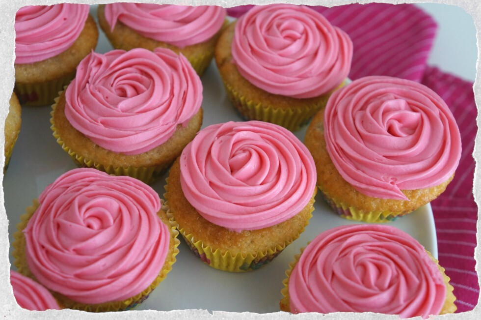 Vanilla cupcakes with pink rosewater frosting