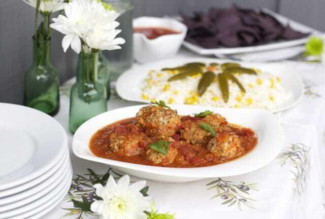 Albóndigas de pescado en salsa Chipotle y arroz La Morena
