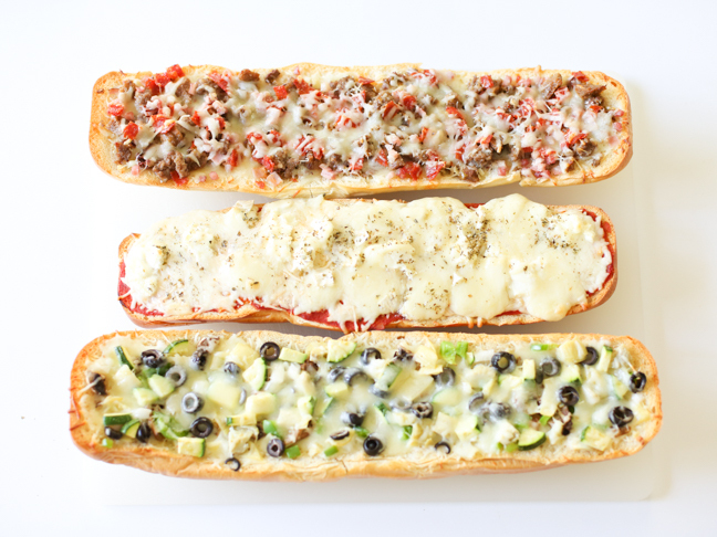 Garlic Bread Pizza, 3 Ways