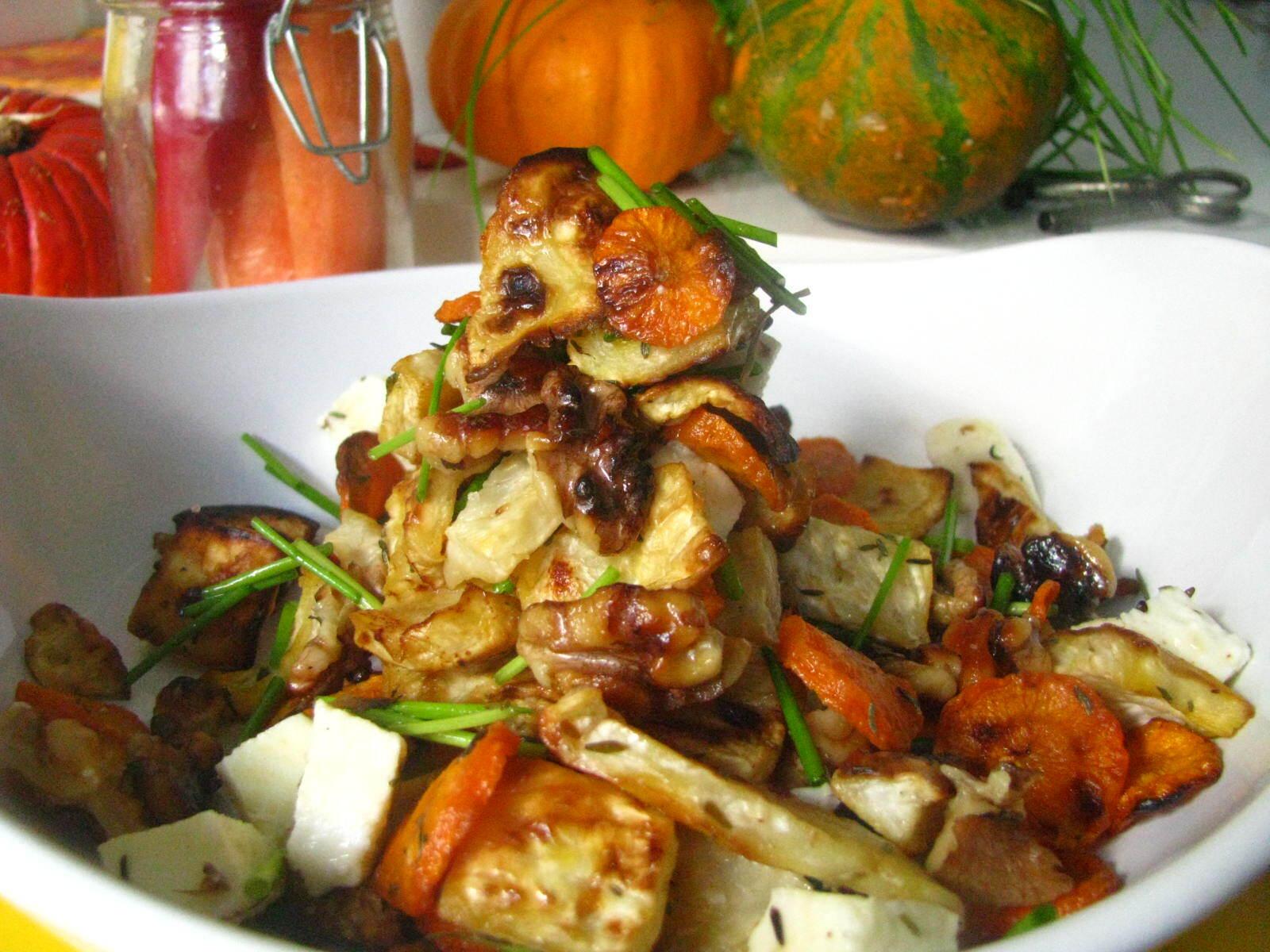 Teplý šalát z pečenej zeleniny ako obed