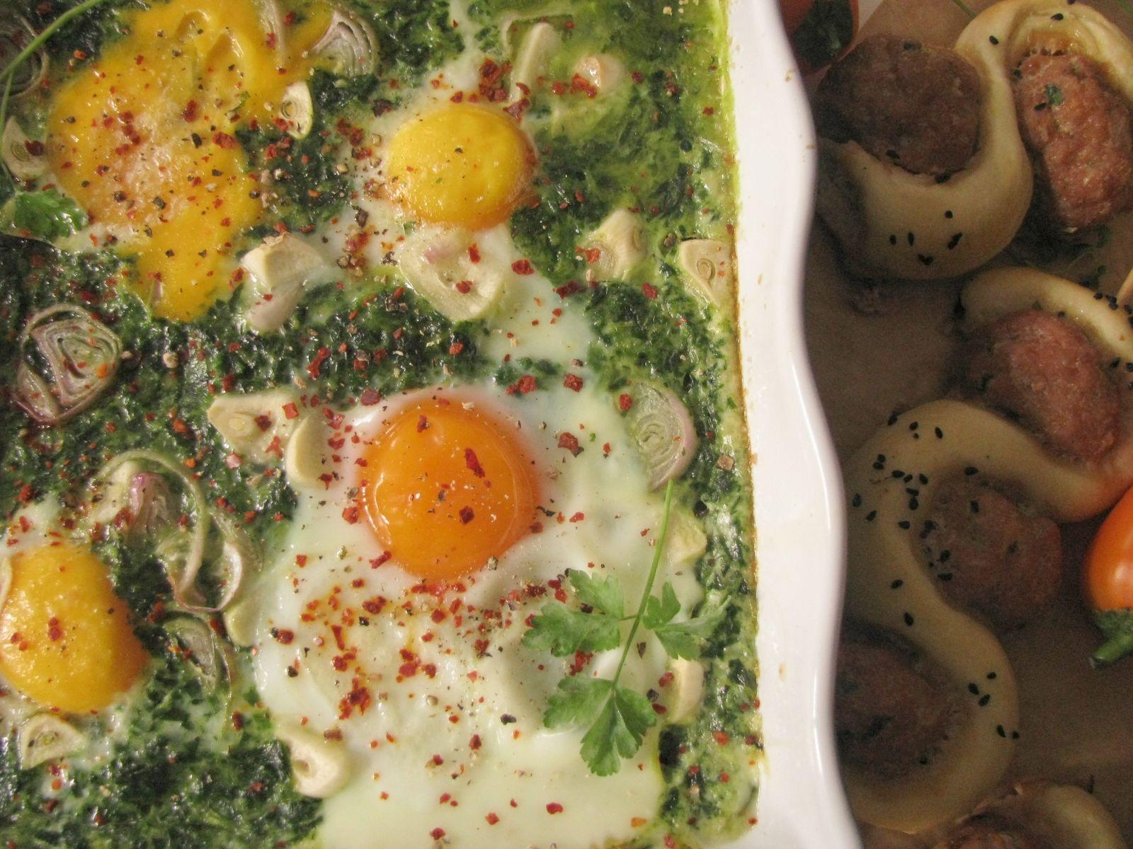 Zapečený špenát s vajciami