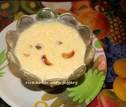 Rice kheer with jaggery or akki payasa