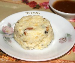 Ven pongal or khara pongal