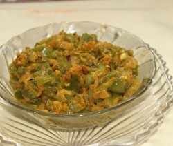 Capsicum sabzi with besan (chickpeas flour) recipe