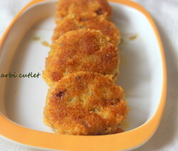 Arbi or colocasia cutlet