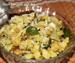 Raw banana stir fry recipe