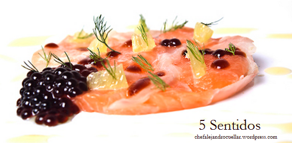 Receta de tiradito de salmón y corvina con caviar de soja y eneldo
