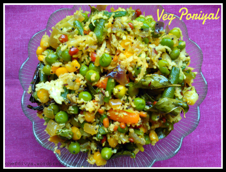 Mix-Veg Poriyal (Vegetable Stir fry with coconut)